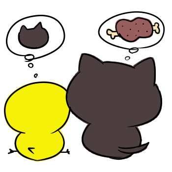 物思いにふける黒猫とひよこのイラスト