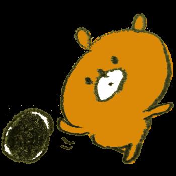 ボーリングの球を転がす熊のイラスト