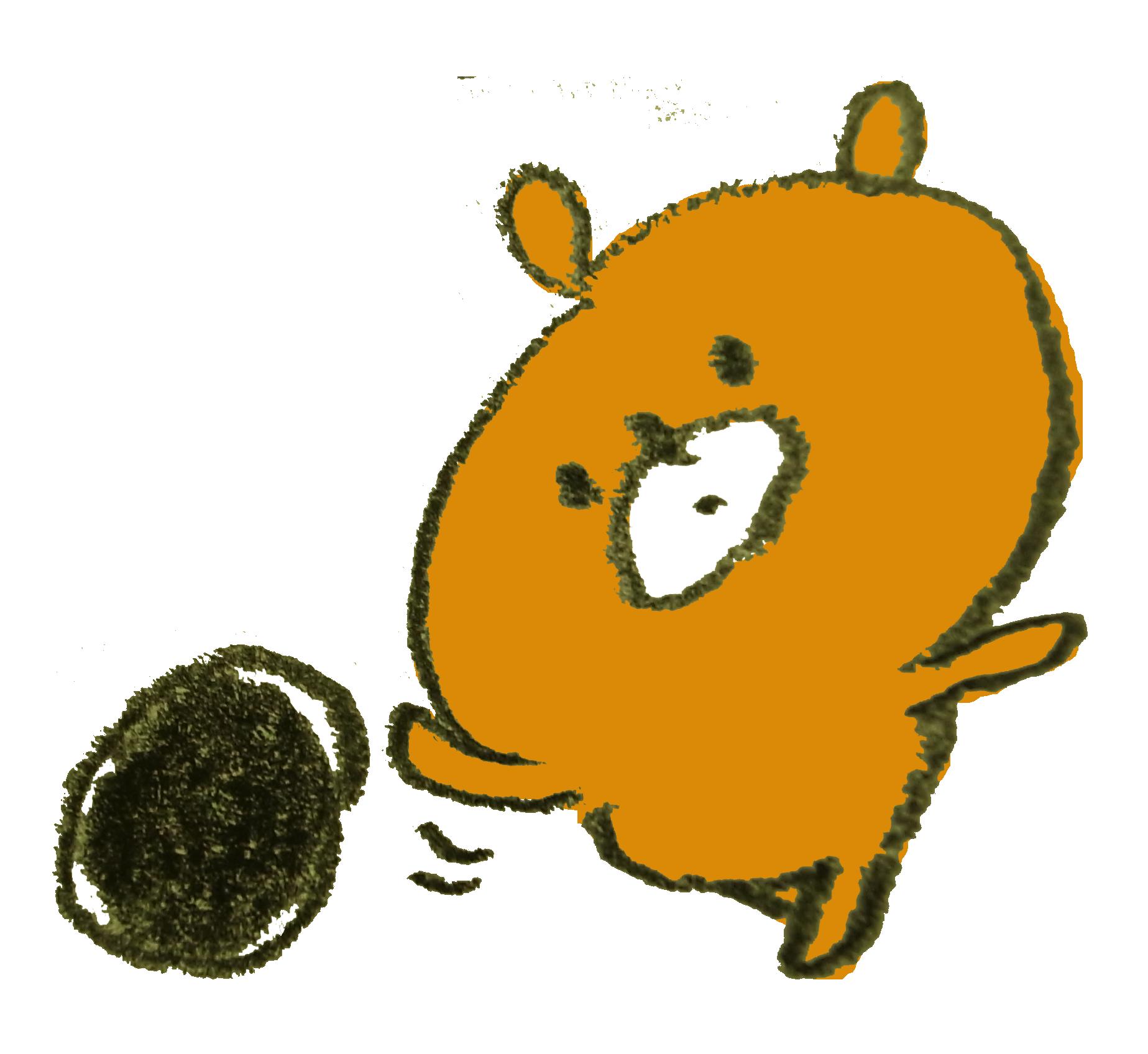 ボーリングの球を転がす熊