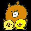 熊と仲良しのひよこ