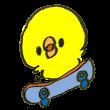スケートボードを乗りこなすひよこ