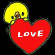 「LOVE」と書かれたハートに乗るひよこ