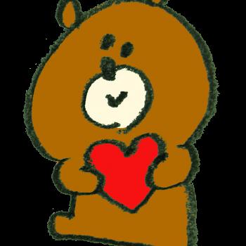 ハートを抱えた熊のイラスト