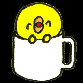コーヒーカップに入ったひよこのイラスト