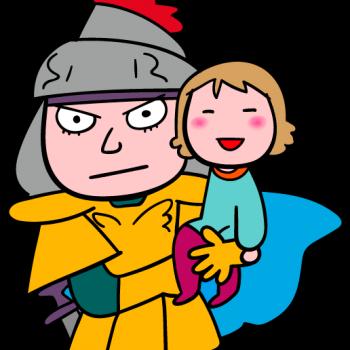 家族を守る戦士のイラスト