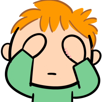 ウソ泣きをする子供のイラスト