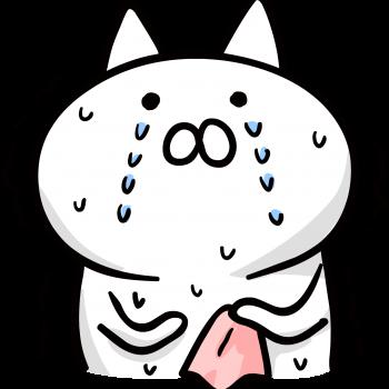 震えながら泣いている猫のイラスト