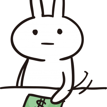 金で解決しようとするうさぎのイラスト