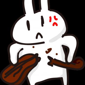 バキバキにバイオリンを壊すうさぎのイラスト
