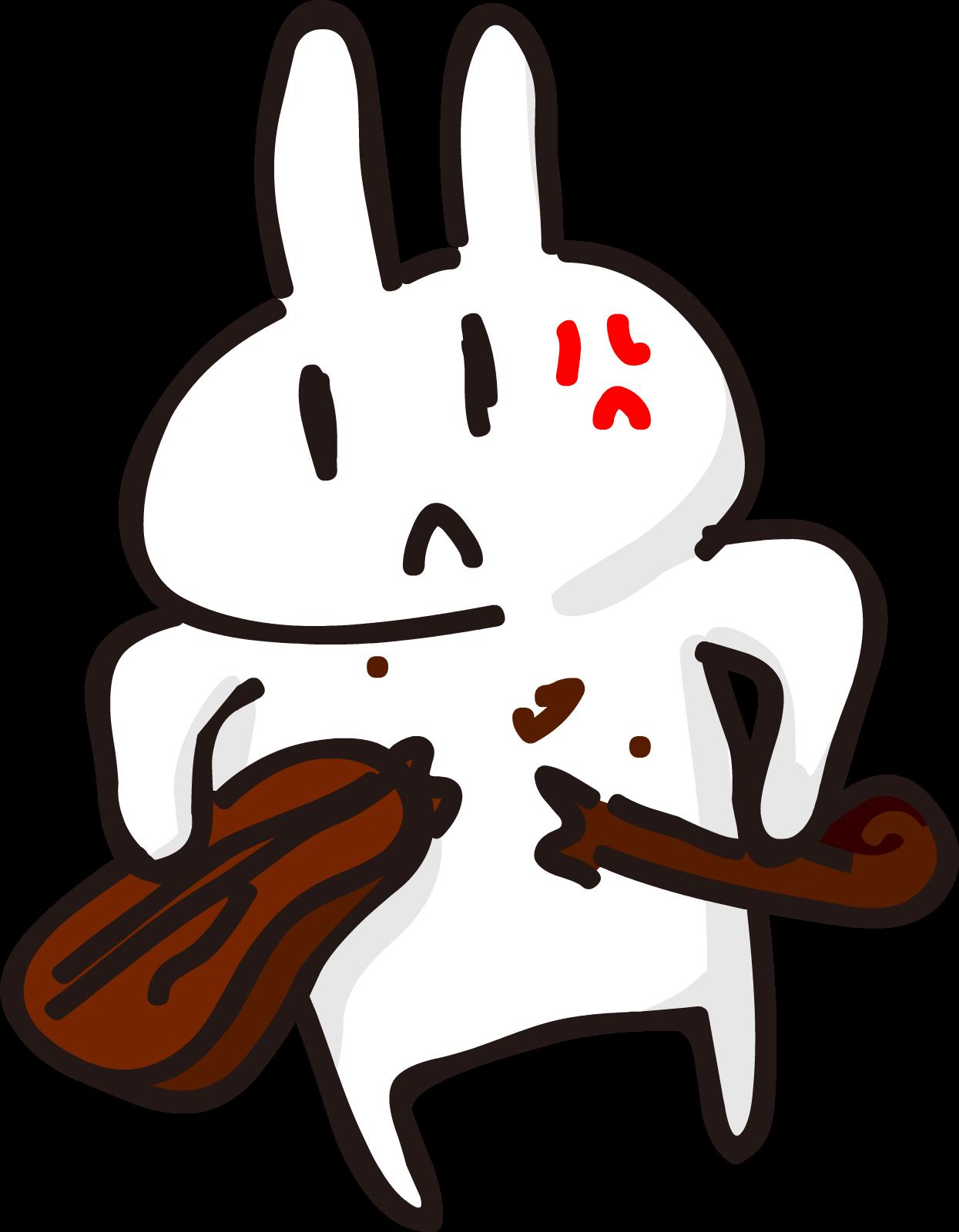 バキバキにバイオリンを壊すうさぎ