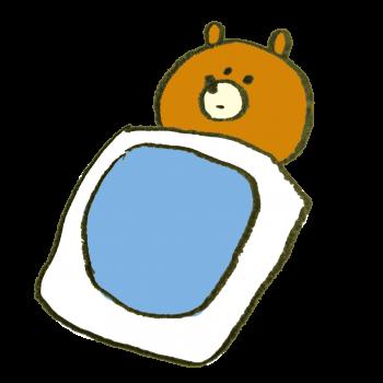 不眠症の熊のイラスト
