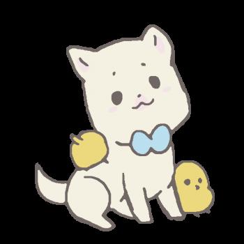ひよこに懐かれた犬のイラスト