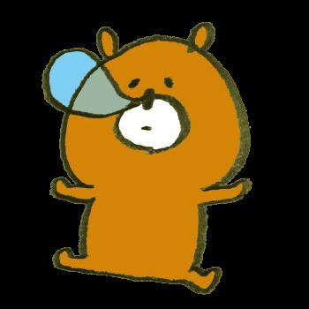 鼻ちょうちんを出して寝ている熊のイラスト
