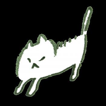 怒って毛が逆立つ猫のイラスト