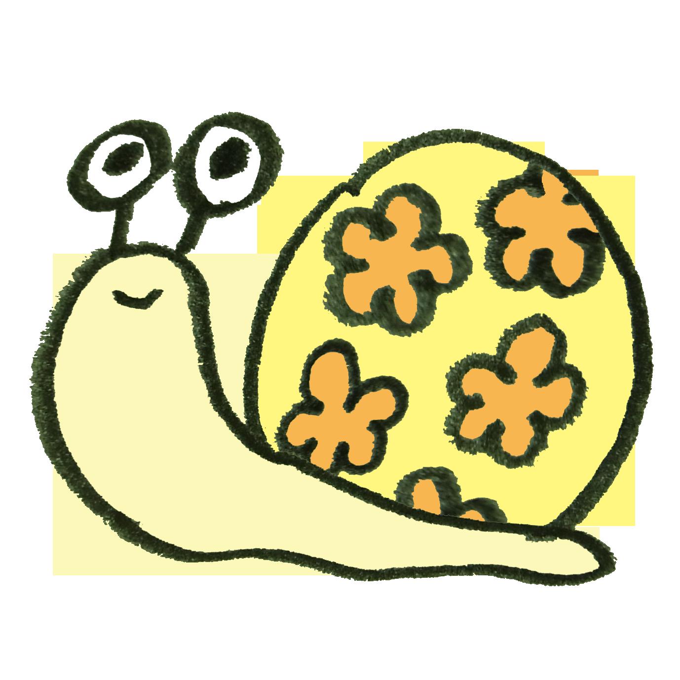 花柄のカタツムリ
