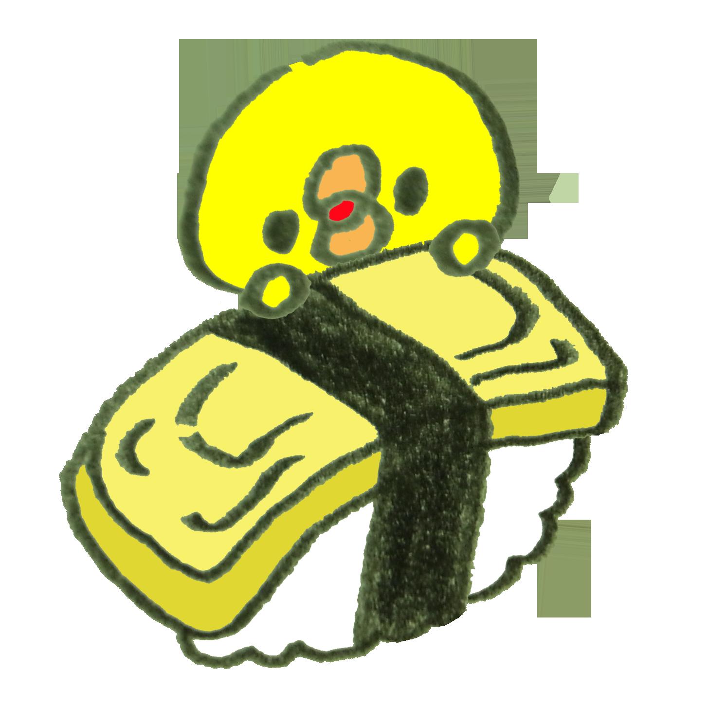 玉子のお寿司からひょっこりのぞくひよこ