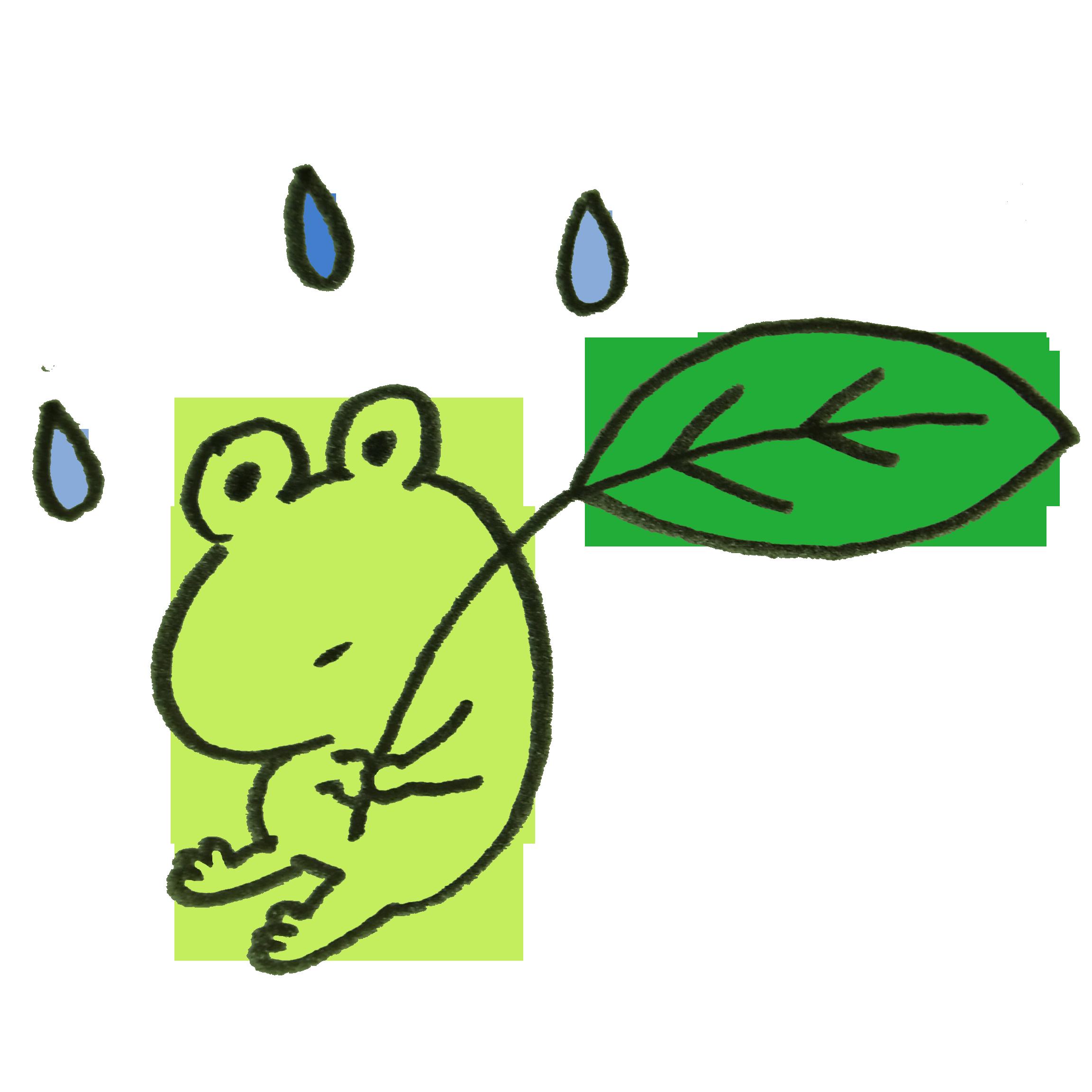 葉っぱを持ったカエルのイラスト ゆるくてかわいい無料イラスト素材