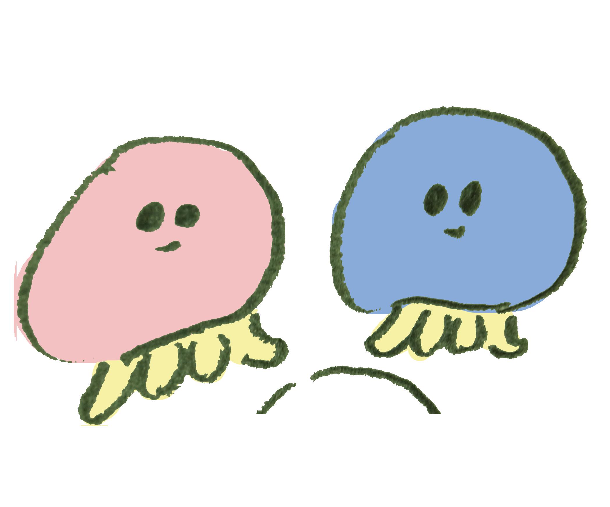 クラゲのカップルのイラスト | ゆるくてかわいい無料イラスト素材屋