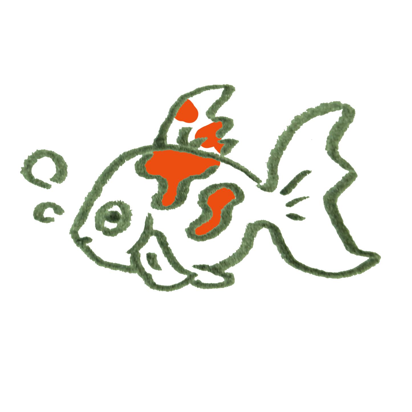 赤い模様のある金魚