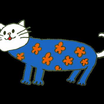 服を着せられて動かなくなる猫のイラスト