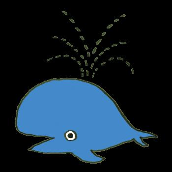 潮を吹くクジラのイラスト