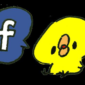 フェイスブックを示すひよこのイラスト
