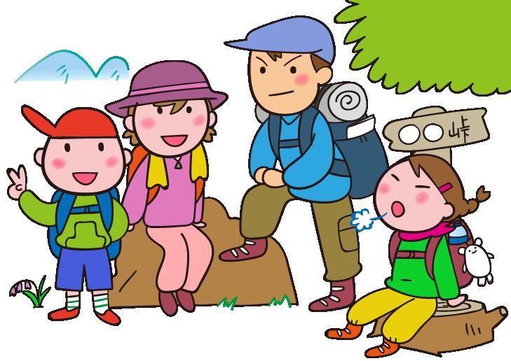 登山を楽しむ親子のイラスト ゆるくてかわいい無料イラスト素材屋