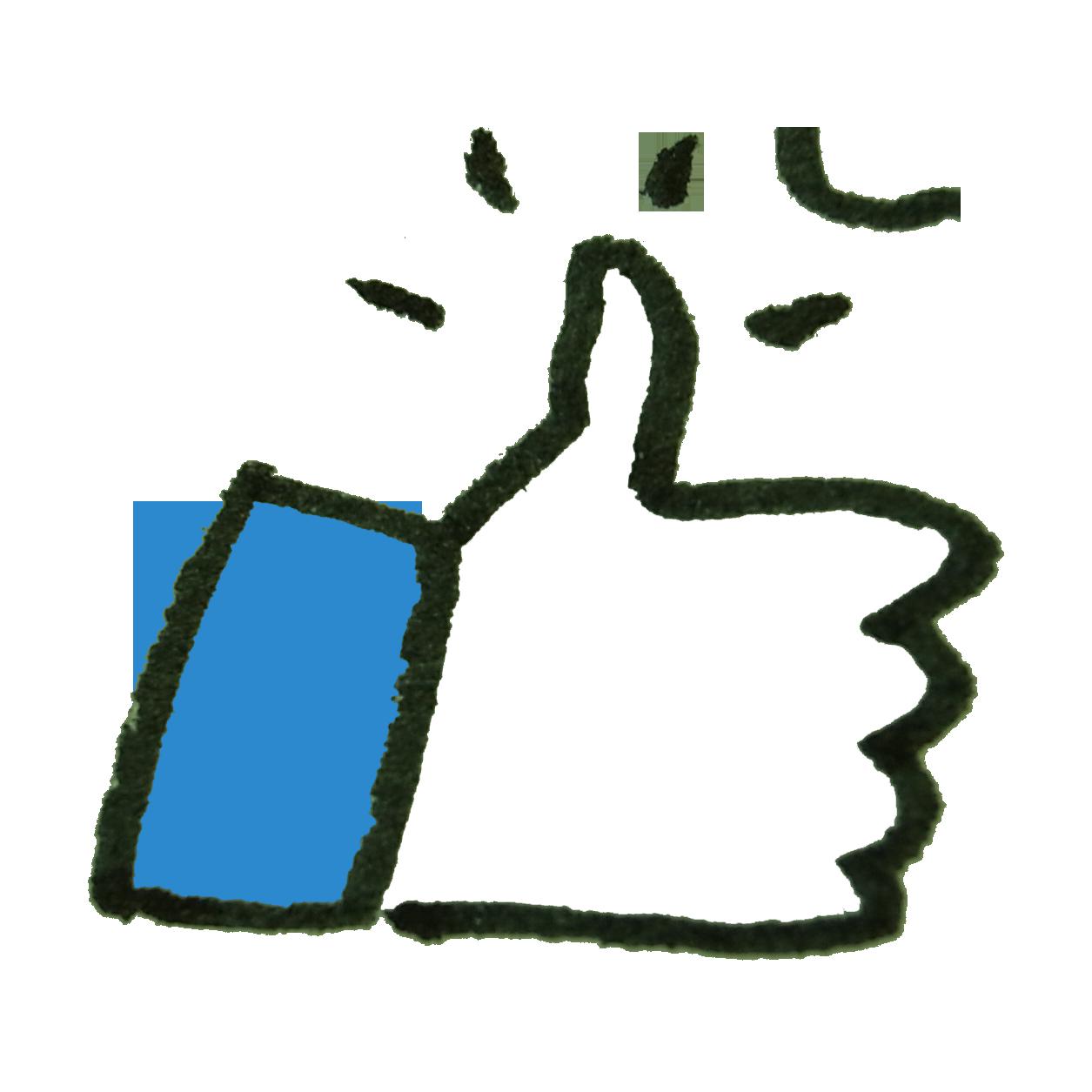 Facebookっぽいいいねアイコンのイラスト ゆるくてかわいい無料