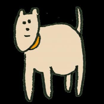 ピンク色の犬のイラスト