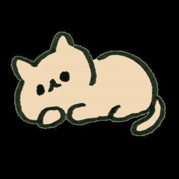 寝転ぶ猫のイラスト