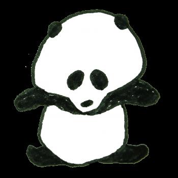 ストレッチをしようと試みるも、体が硬いパンダのイラスト