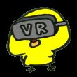 VRを体験中のひよこ