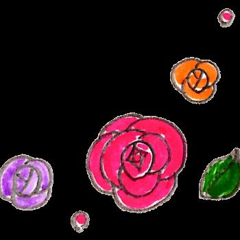バラ柄のイラスト