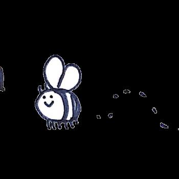 花のミツにつられるミツバチのイラスト