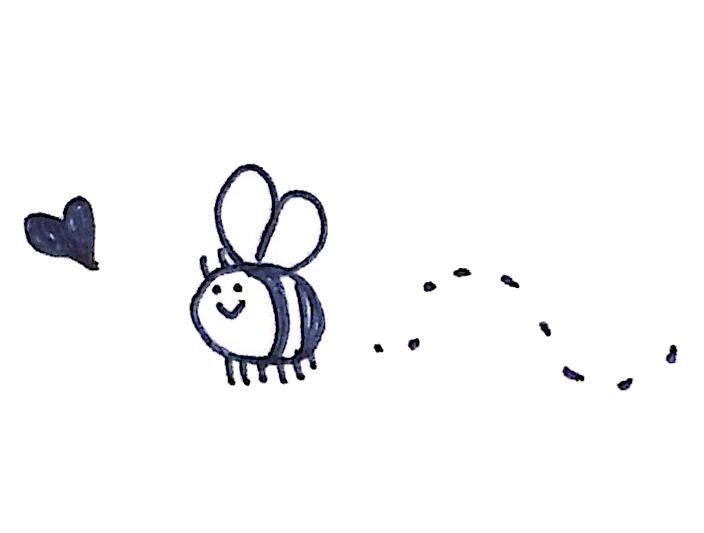花のミツにつられるミツバチのイラスト ゆるくてかわいい無料イラスト素材屋 ぴよたそ
