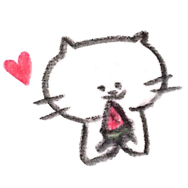 スイカを食べる猫