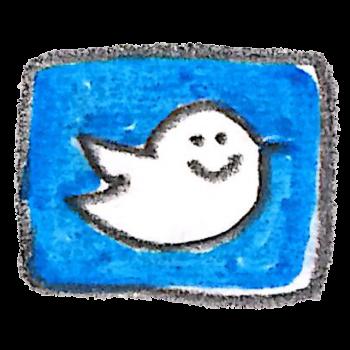 こっちを見てくるTwitterのロゴのイラスト