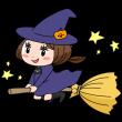 ほうきにまたがって空を飛ぶ魔女