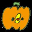 かぼちゃのコスプレをするひよこ
