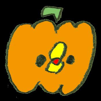 かぼちゃのコスプレをするひよこのイラスト
