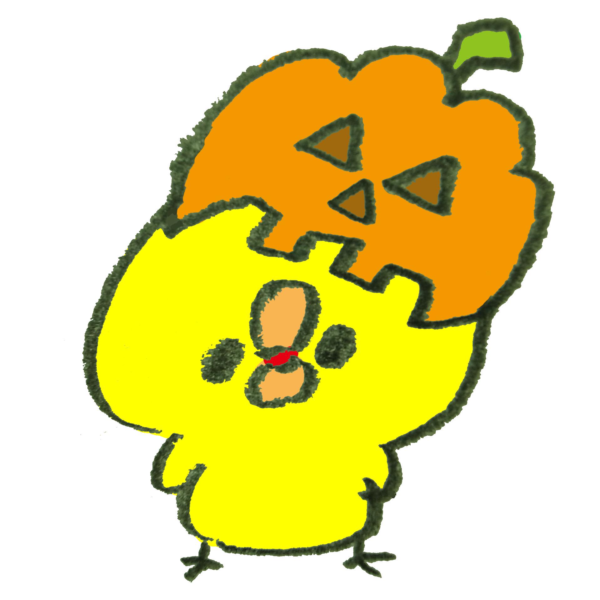 おばけかぼちゃをかぶったひよこ