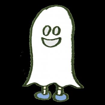 ハロウィンにおばけのコスプレをしている人のイラスト
