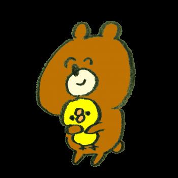 笑顔でひよこを抱きしめる熊のイラスト