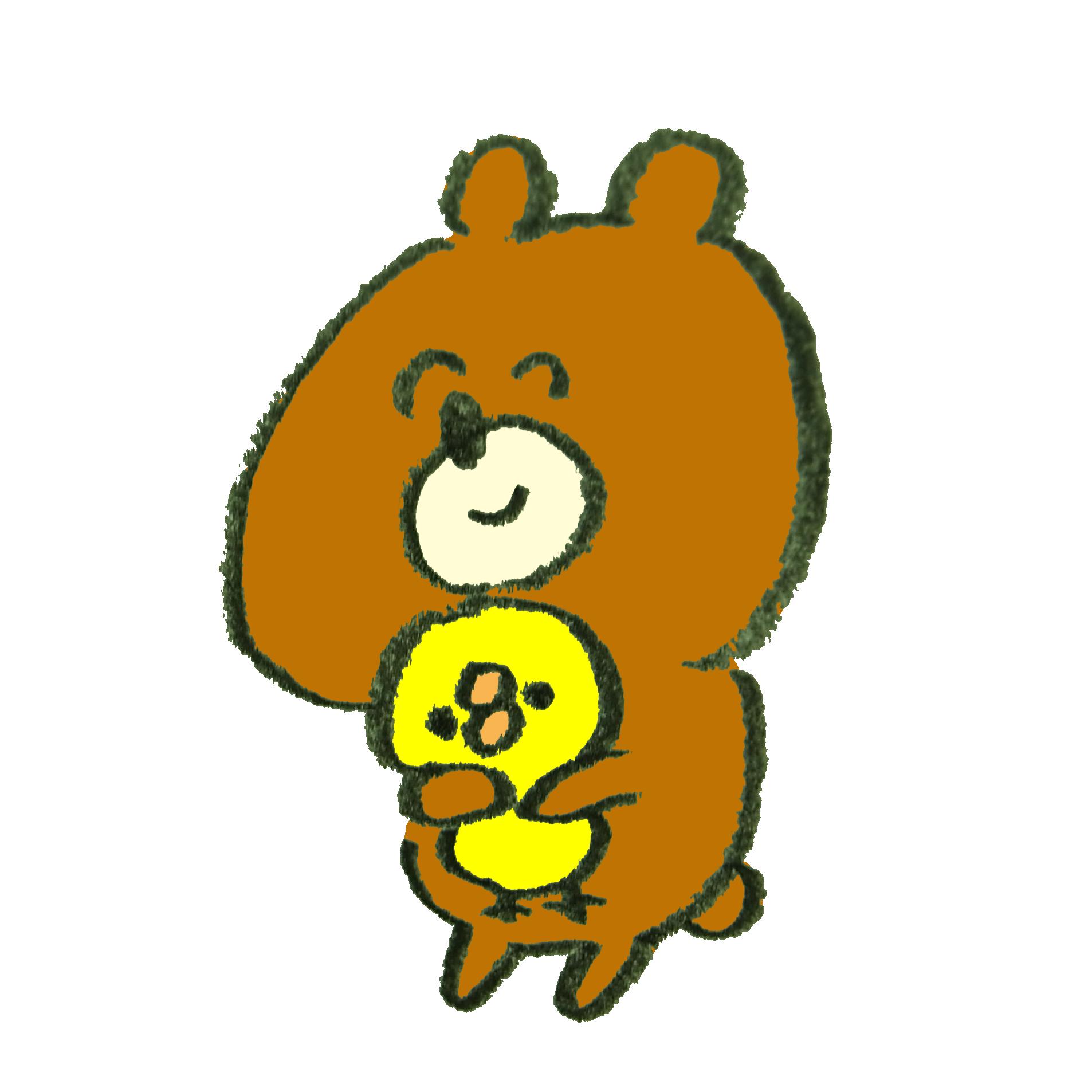 笑顔でひよこを抱きしめる熊のイラスト | ゆるくてかわいい無料イラスト