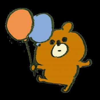 風船をもらってウキウキの熊のイラスト