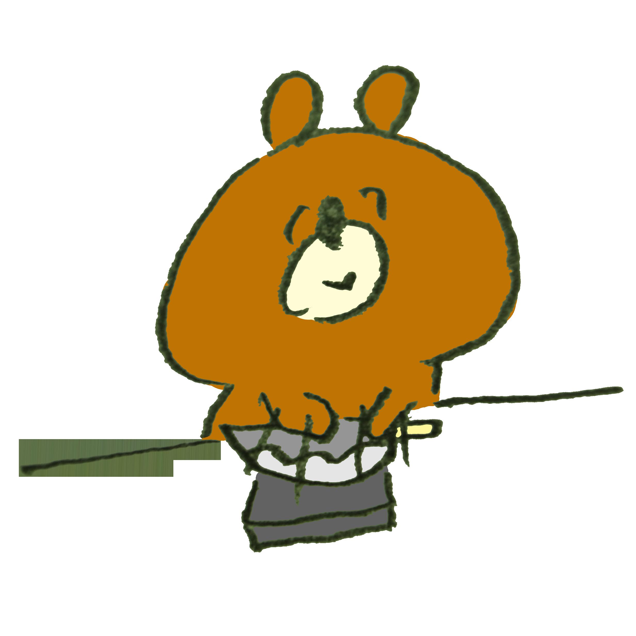 包丁を研ぐ熊