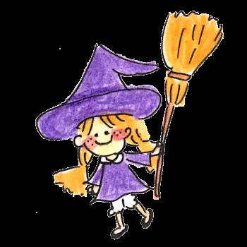 ほうきを持った魔女っ子のイラスト