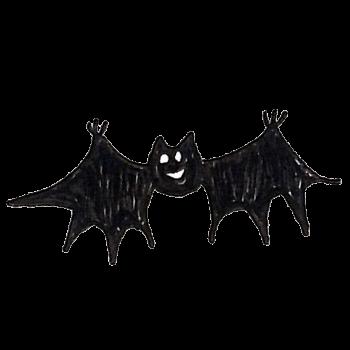 笑顔で飛ぶコウモリのイラスト