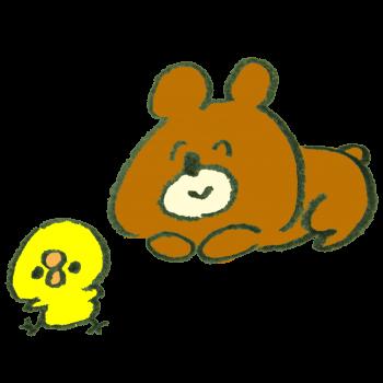 笑顔でひよこを見つめる熊のイラスト