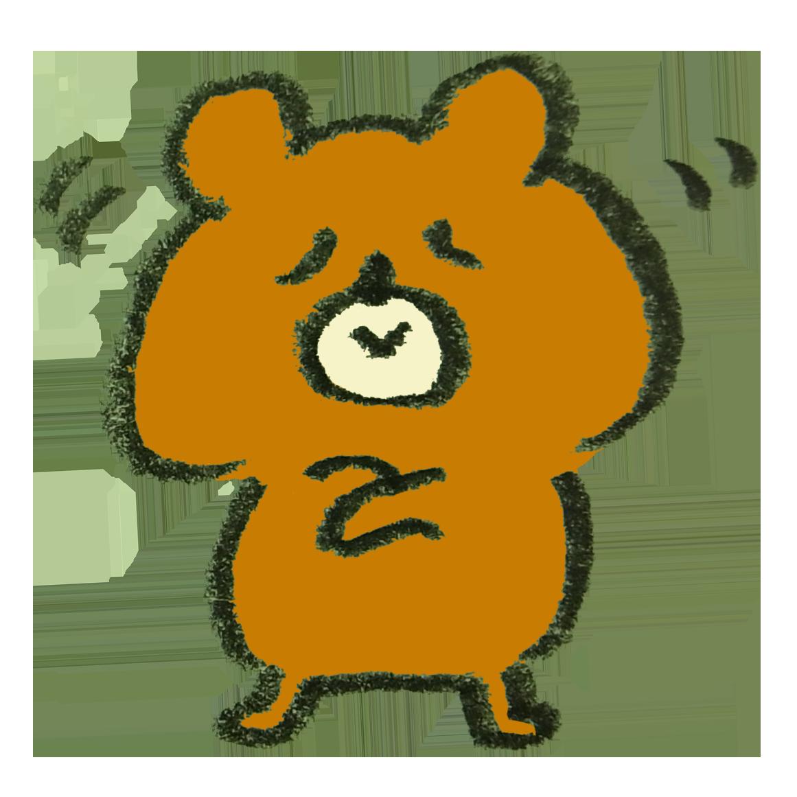 うんうんとうなづく熊のイラスト